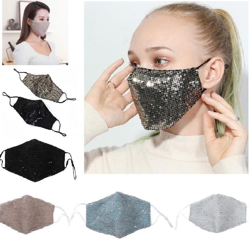 Respirazione paillettes sicuro Bocca Maschere pieghevole respiratore antipolvere traspirante maschera di trasporto di multi colore Fashion Design libero