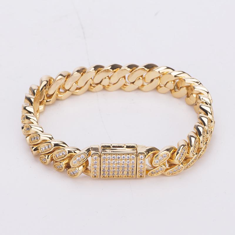 Hip hop copper gilded micro inlaid zircon cuban bracelet 1cm wide jewelry wholesale mens gold bracelet fashion chain bracelet