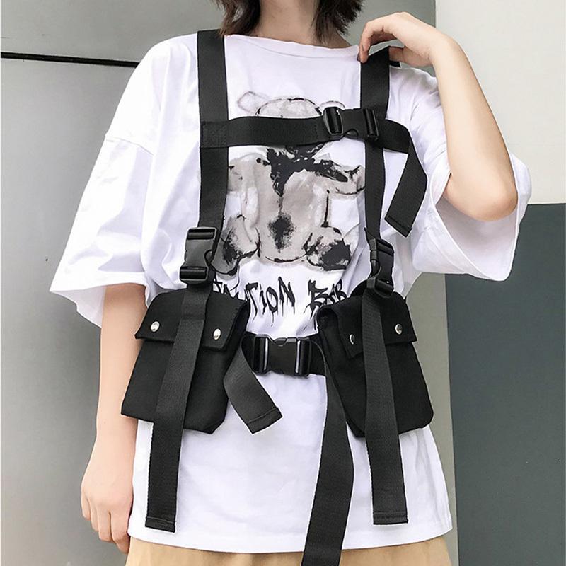 Тактический жилет 2019 модная уличная сумка для мужчин хип-хоп сундук подъема сумка регулируемая множественные карманы холст мужской жилет сумки T200113
