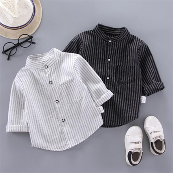 Ienens весна тонкие рубашки детские мальчики с длинным рукавом полосатые печать рубашки детские топы тройники рубашки повседневная блузка C0119