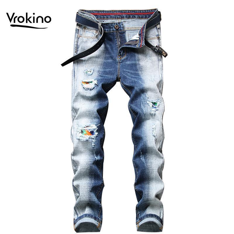 Nova Primavera e Outono 2021 Moda Rasgado Rua Esticão Masculino Jeans Jean Homme Men's Black Blue Denim Jeans Para Homens