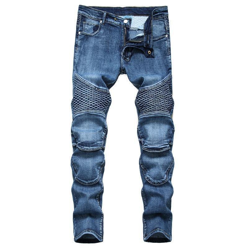 Uomini nuovi con controllati jeans da motociclista slim fit jeans dritto pantaloni pieghettata high street grande dimensioni pantaloni maschili