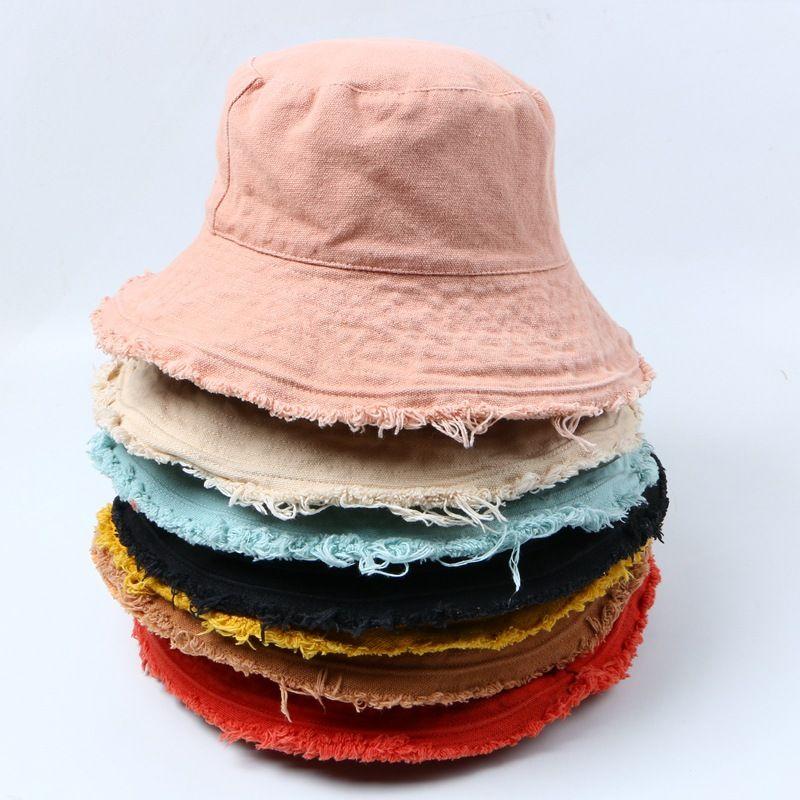 Big Kids couleur solide fil d'aluminium doux frangée de chapeau de pêcheur forme eau de lavage seau chapeau sortie de A4699 chapeau du bassin des femmes