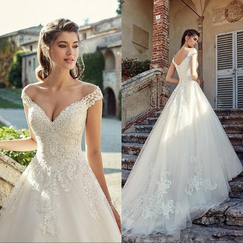 Encargo magnífico del hombro vestidos de encaje 2021 V cuello apliques de barrido tren vestidos de novia vestido de novia