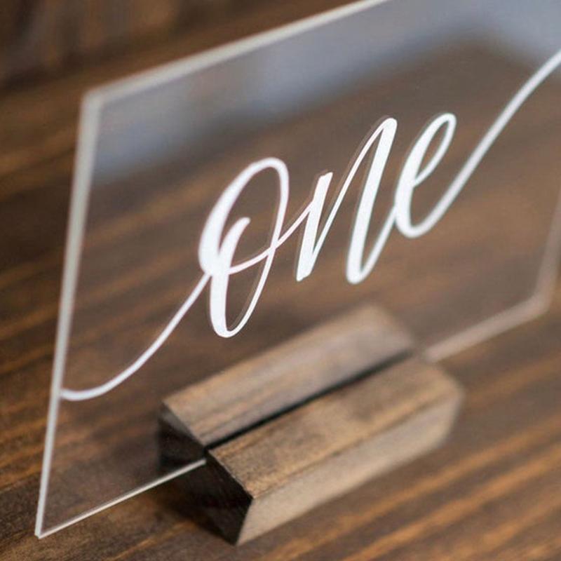 Numeri di tavola di nozze di calligrafia acrilica con set di legno set di numeri personalizzati segno moderno tavolo della tabella di nozze per la festa