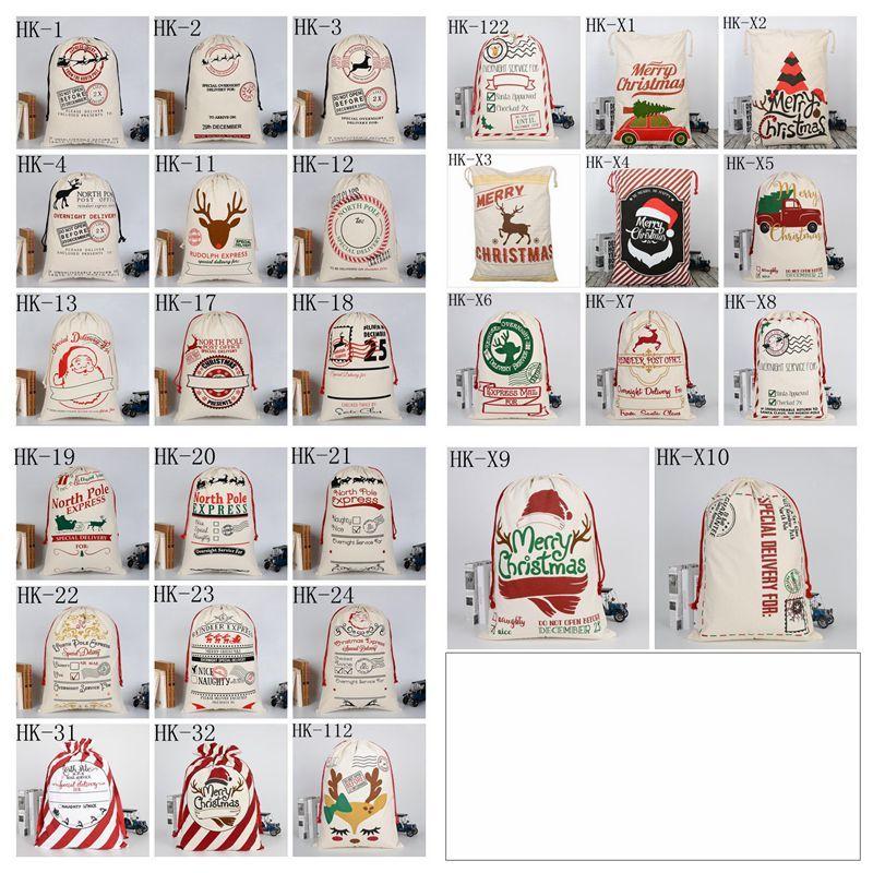 Navidad Regalo Bolsas de regalo Navidad Lienzo Bolsa con cordón Monogramleables Papá Noel Renaces Saco Bolsillo de caramelo Decoraciones de asas Solicitaciones Sacciones YW06
