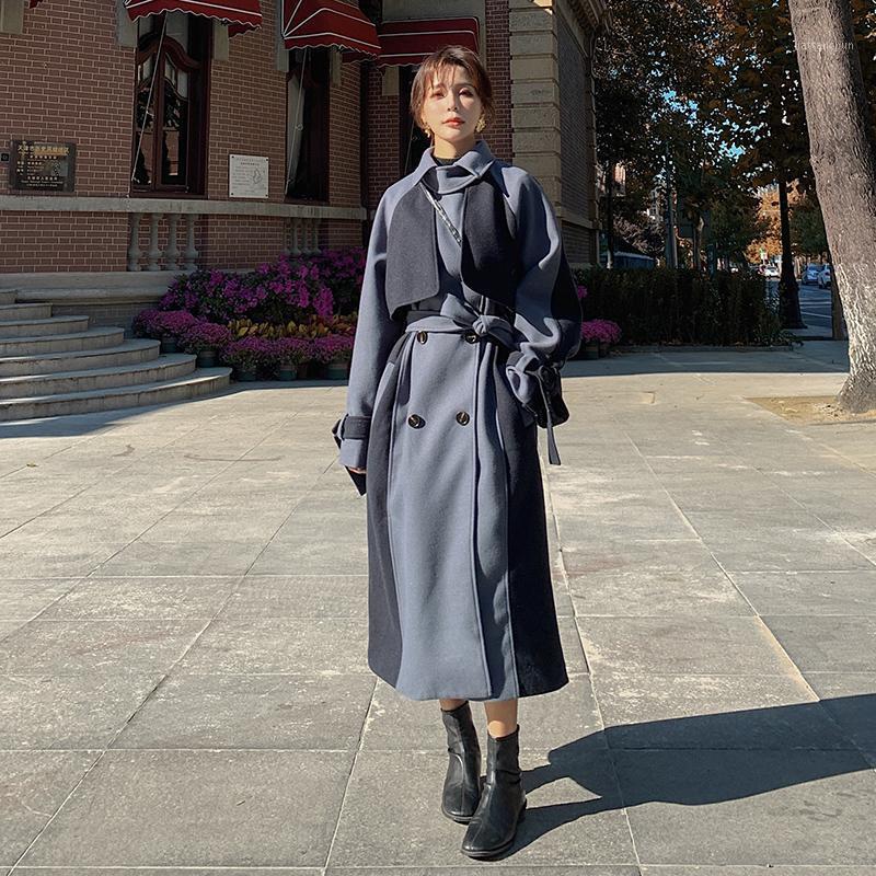 Threot Threet Coat Woolen Women's De Moda Temperamento 2021 Invierno Medio longitud suelta color clásico Color coincidente Woolen Coat B391