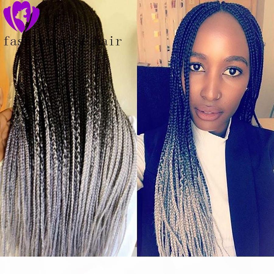13x4 perucas trançadas perucas sintéticas dianteira peruca ombre cor cinza trançada caixa de tranças com perucas de cabelo para bebês para mulheres negras
