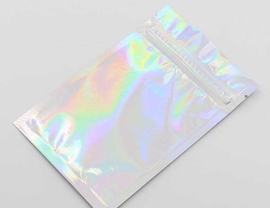 Precio al por mayor mascota holográfico almacenaje bolsas planas láser mylar fouch bolsa reutilizable cosmético packag bbygaf soif
