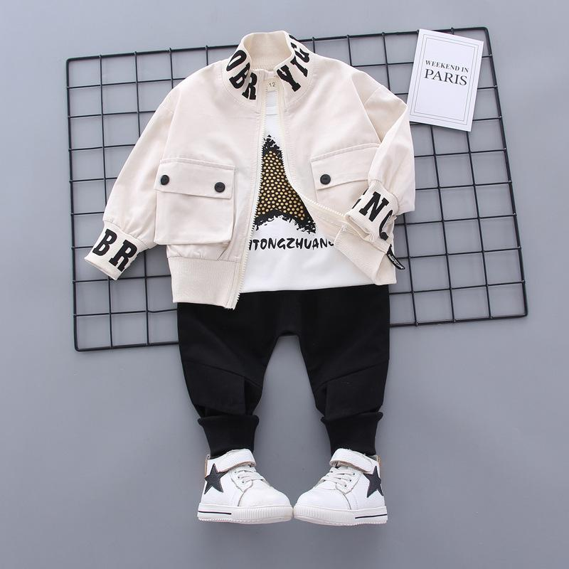 New Spring Autumn Children Cotton Clothes Baby Boys Printed T Shirts Coat Pants 3Pcs/sets Infant Kids Fashion Toddler Tracksuits LJ200831