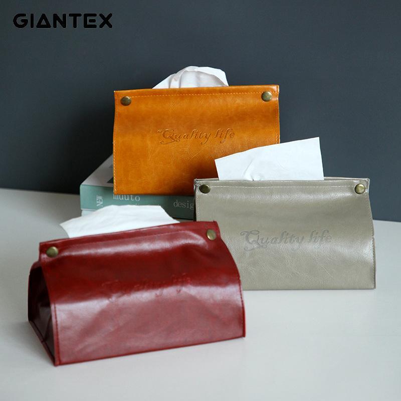 Cajas de pañuelos Servilletas Giantex Nórdico PU Minimalista PU Caja de cuero Sala de estar Rack Tabla de café Cajón multifunción