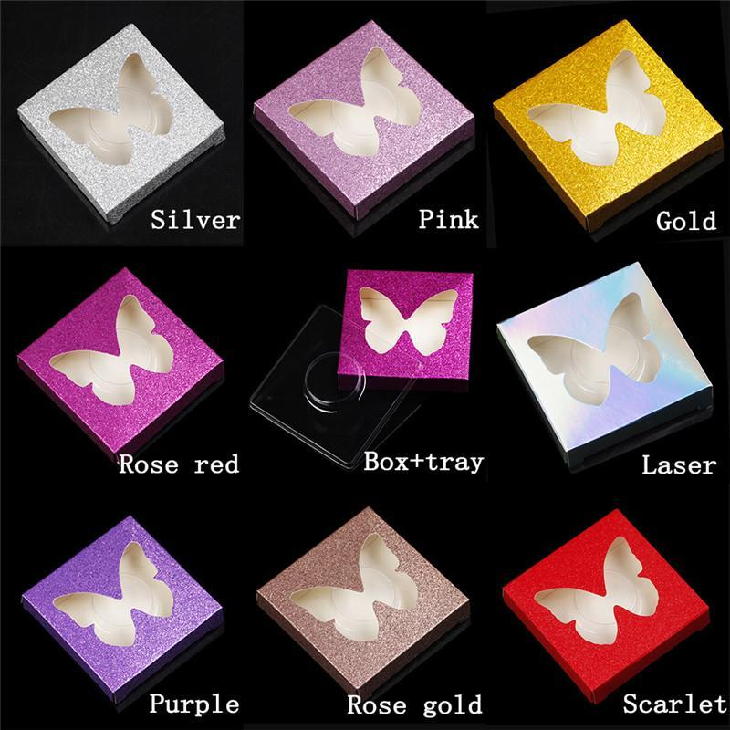 Brillante 3D visón Pestañas Caja Buttefly Heart Falso Pestañas Caja de embalaje con bandeja Vacío Papel Papeles Caja Caja de envasado de pestañas de colores