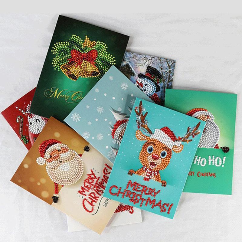 Diamantbohrer Malerei Grußkarten 5D Sonder Cartoon Weihnachten Geburtstag Postkarten DIY Kids Festival Stickerei Greet Karten Geschenk KKA1764