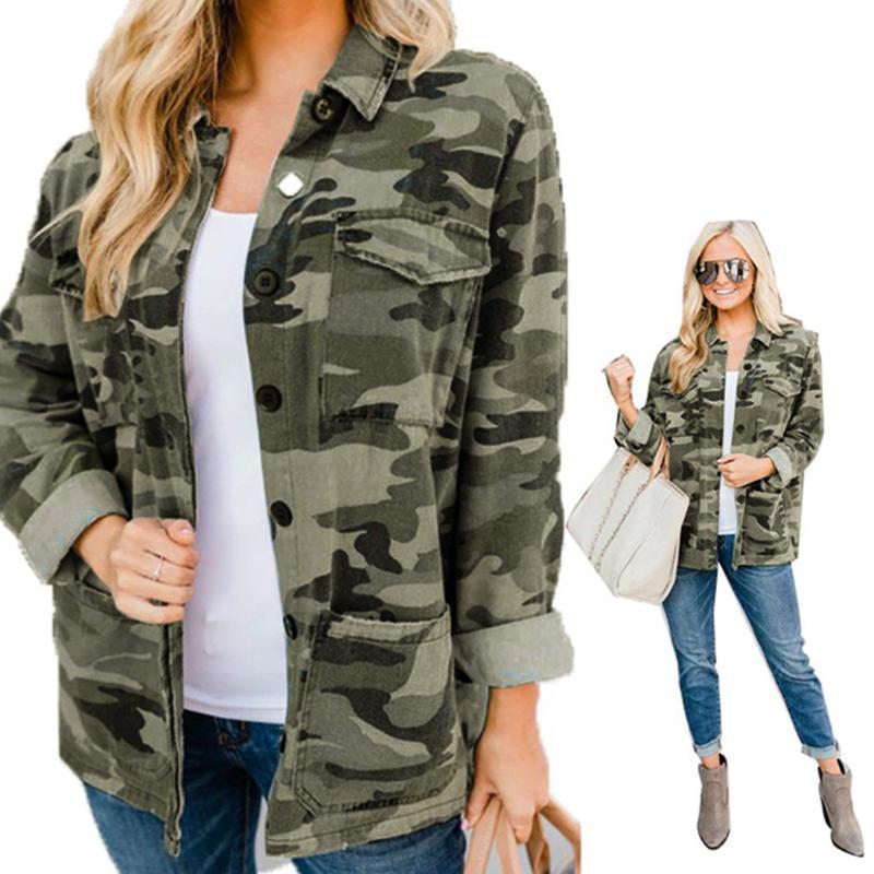 Ladies' autumn coat Fashion Women Fashion Long-sleevedCamouflage Print Casual Stand Collar Coat Jacket W1009