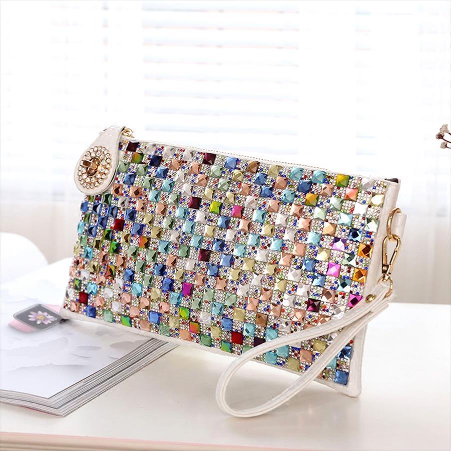 Colorful strass donne Pochette progettista Diamante Donne borsa da sera Chic Tracolle Crossbody partito piccola borsa