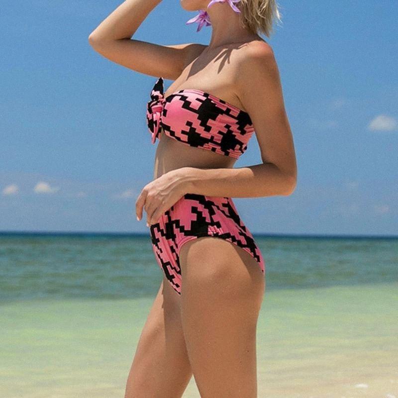 Swimming-Pool-Party wichtiger Druck Frauen-Badeanzug Push-Up gepolsterte BH-Strand-Bikini-gesetzte Badeanzug Bademode Bademode SpHX #
