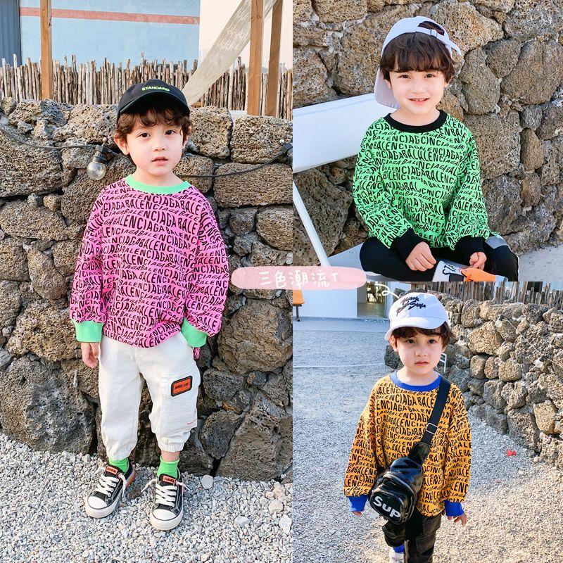 2020 primavera y el otoño versión coreana de la camisa de la base del estilo occidental de la ropa del bebé Boy primavera los nuevos niños de la camisa marea masculino 1005