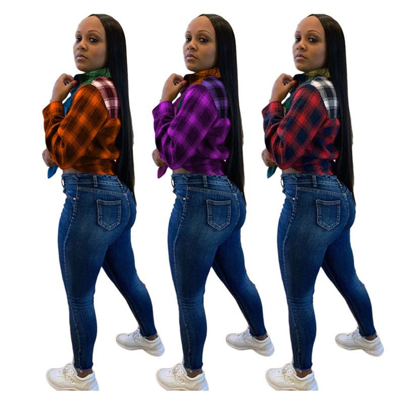 Mode Womens Tops Blouses Patchwork Patchwork Couleur Manches longues Plus Taille Automne Femmes Chemise Casual Blouse Femelle Blouse 3 Couleurs F101906