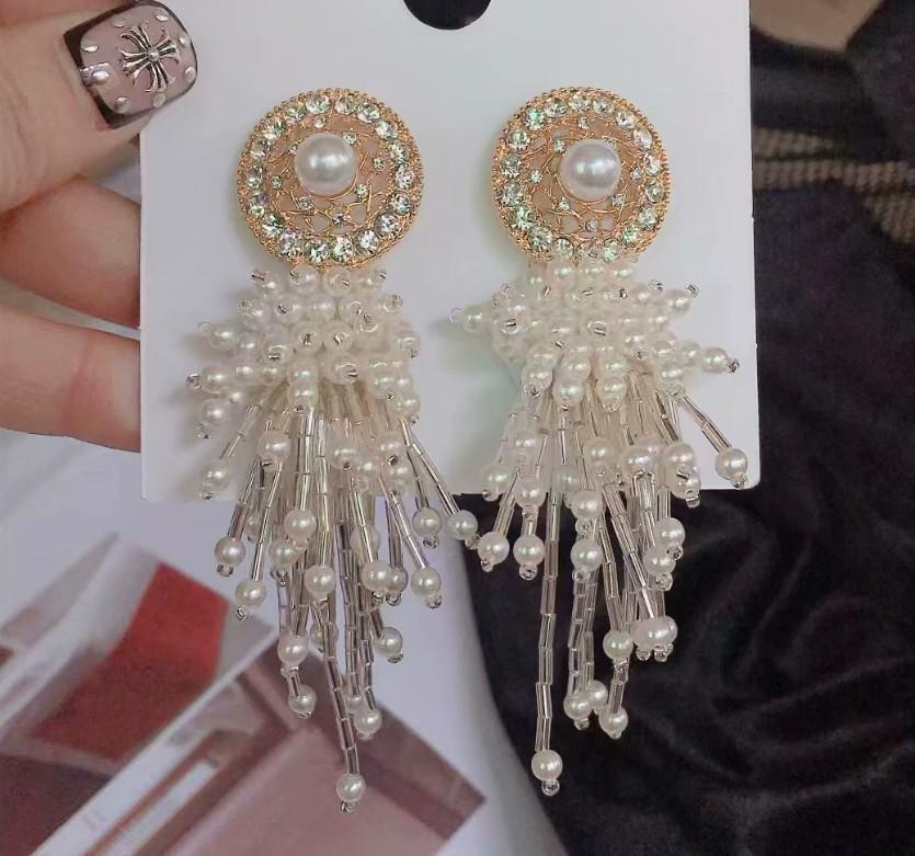 2 pairs/lots wonderful low price high quality natural pearl tassels crystal diamond knot 925 silver lady's earings 15