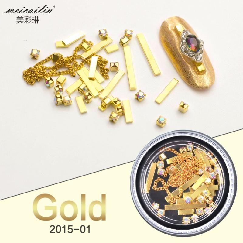 Meicailin Mix Nail Art Süslemeleri Metal Şeritler Su Damlası Kristal Elmaslar Altın Çerçeveleri Boncuk Zincirleri Yeni Manikür Aksesuarları