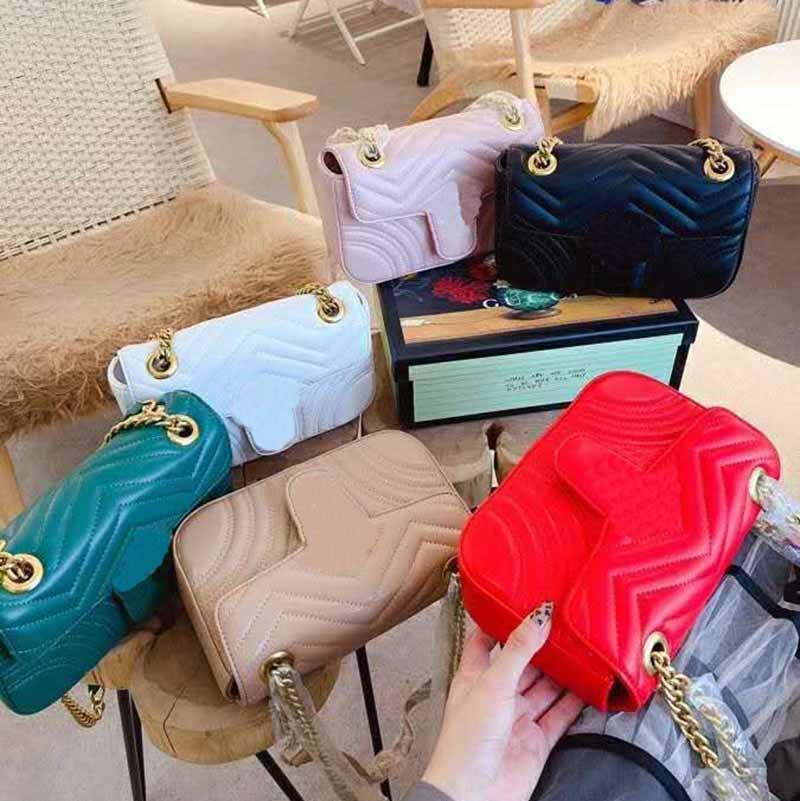 Newset Damen Dame Messenger Bags 22cm Liebe Herz V Wellenmuster Satchel Echtes Leder Umhängetasche Kette Handtaschen Geldbörse