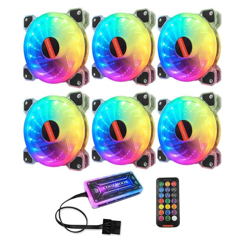 COOLMOON Computer-Chassis Lüfter, 12cm Gehäuselüfter RGB Mute Computer Lüfter CPU-Lüfter (6PCS)