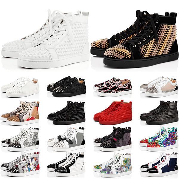 جديد وصول قيعان أحمر الرجال النساء الأحذية المسامير عالية أعلى أحذية رياضية أسود أبيض بريق رمادي جلد الغزال رجالي عارضة الأحذية حجم 35-47