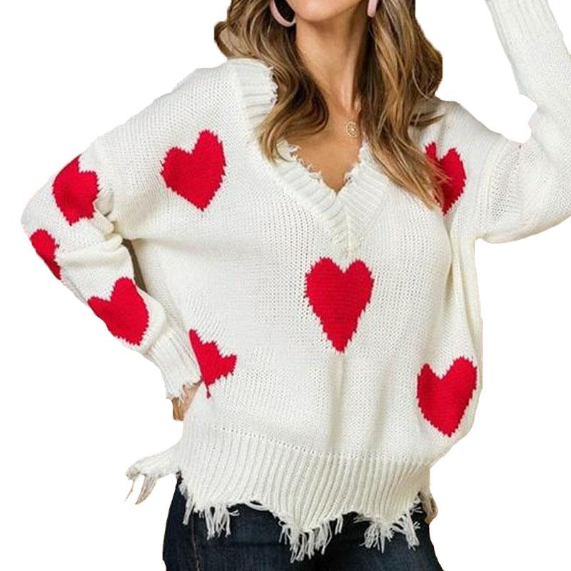 Fashion New Style Autumn Winter Women Heart Pattern Printed Knitted Sweater Casual Ladies Warm Clothes