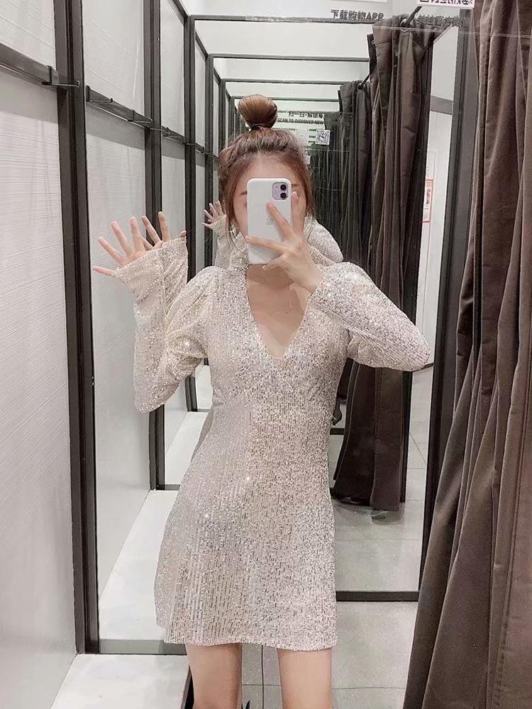 Neue Europäische Pailletten Mini Sexy Deep V Long Skinny Puff Party Kleid 2021 Chic Weibliche Designer Kleid 3R4D