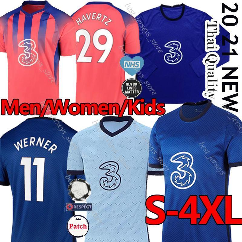 2020 2021 CFC جيرسي لكرة القدم قميص HAVERTZ كانتي WERNER PULISIC ZIYECH ABRAHAM CHILWELL MOUNT جورجينيو كرة القدم عدة من الرجال والنساء والأطفال البلوزات