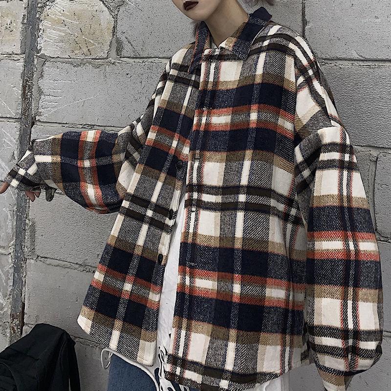 Мужская шерстяная смесь Neploha Men's 2021 зимнее шерстяное пальто женщина клетчатая клетчатая напечатана теплые куртки повседневные и сгущает модный пиджак1