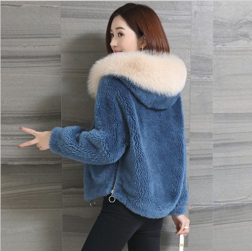 2020 Женской Зима Осень Поддельная Овцы мех Кофта Short Раздел Xs / 3XL Женских искусственный мех Пальто с капюшоном рукотворной Fur Outwears K1108X1016