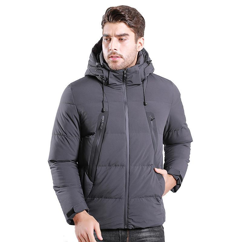 Blue Color: Dark Black 2020 New Winter Jacket with Outdoor Male Hood and Wind-proof Thick Cotton Clothes Short 3ue4