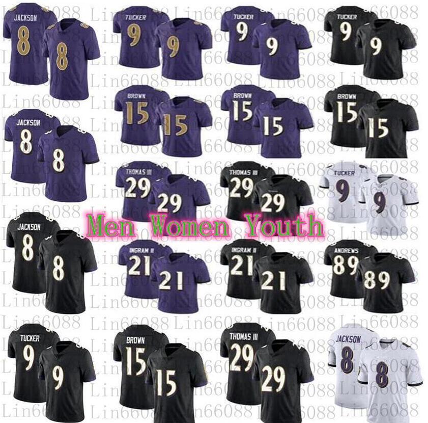 2020 Erkek Kadın Gençlik 8 Lamar Jackson 9 Justin Tucker Marquise Ingram II Earl Thomas Futbol Forması