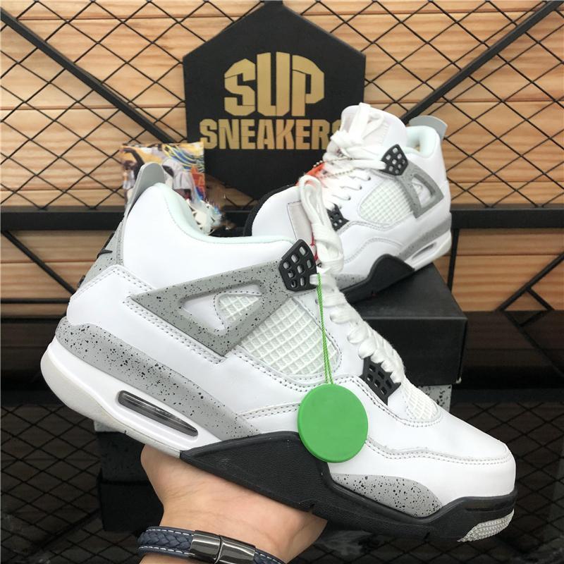 2020 NOUVEAU TOP CRÈME Voile Noir Chat Blanc Ciment Hommes Femmes Jumpman 4 4S Basketball Chaussures Cactus Jack Baskets Sport Chaussures Sport36-46