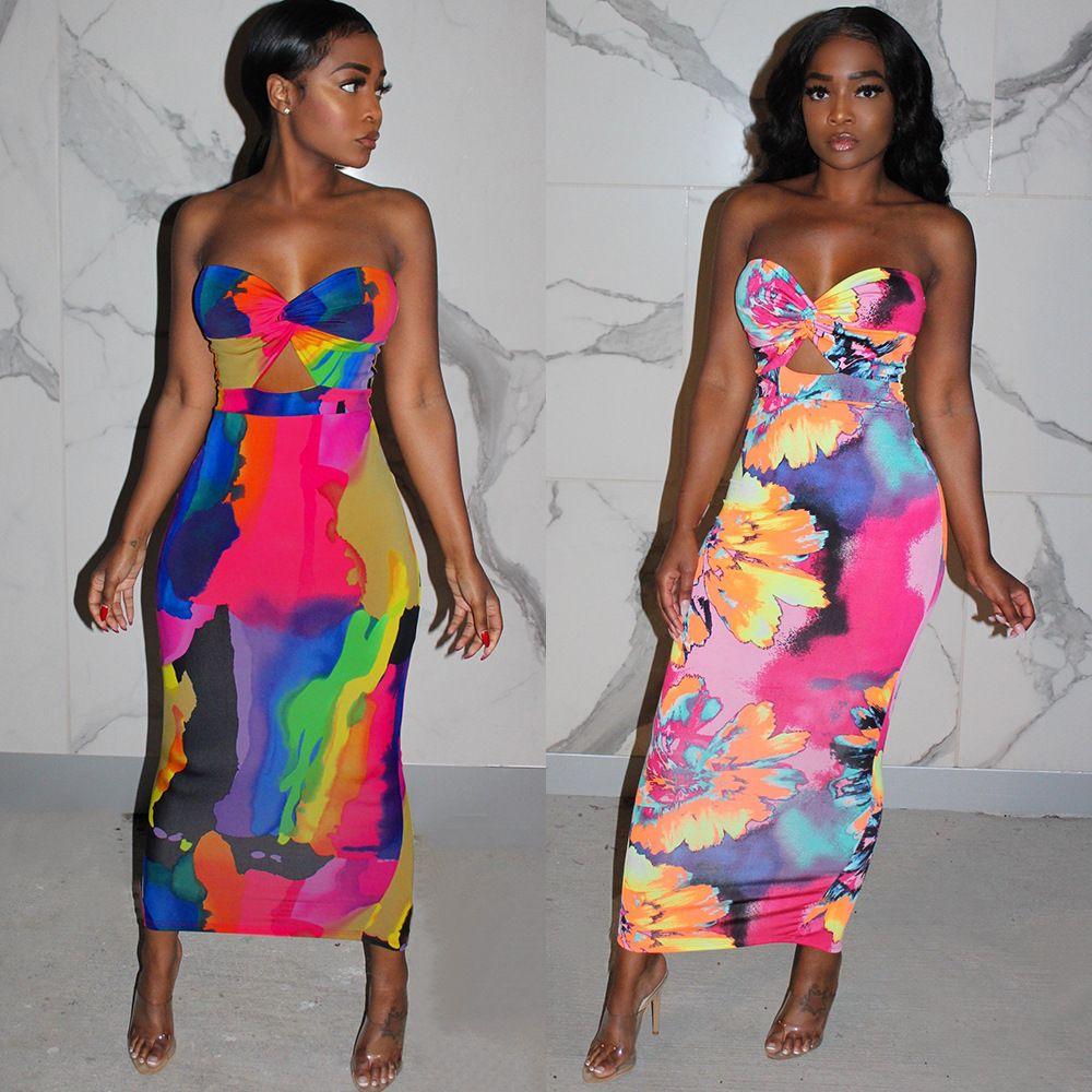 Womens Designer Luxury Imprimer Robe d'été sexy bustier longue fête Robe crayon Mode précarisés Vêtements