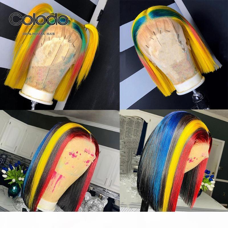 COLODO arc-en-couleur Bob perruque brésilienne Remy Cheveux jaune avant de dentelle perruques avant plumé pleine dentelle perruques pour les femmes
