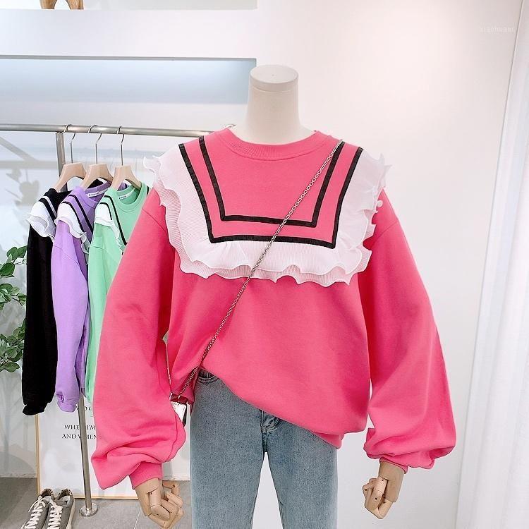 Sweatshirt Weibliche 2020 Frühling und Herbst Neue Korean Ruffle Splicing Lose Pullover Frauen Langarm Baumwolle Hoodie Feste Tops1