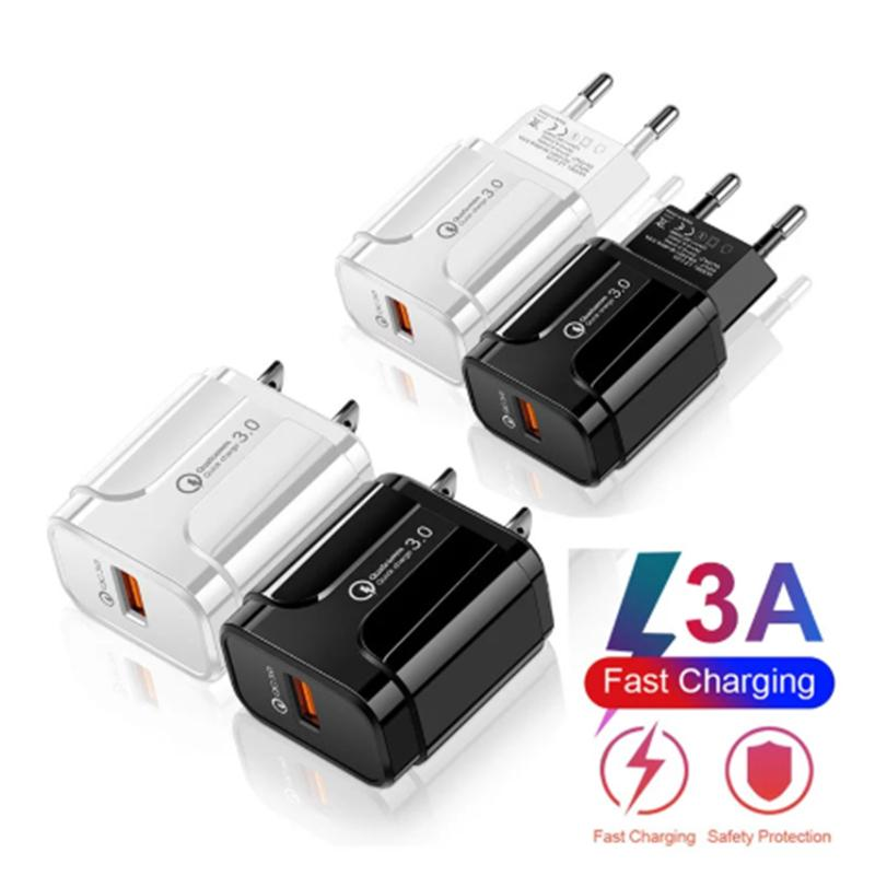 EU / US-Stecker-Ladegerät QC3.0 USB Schnellladegerät Power Adapter Zubehör für Handy Micro / Typ C-Ladekabel