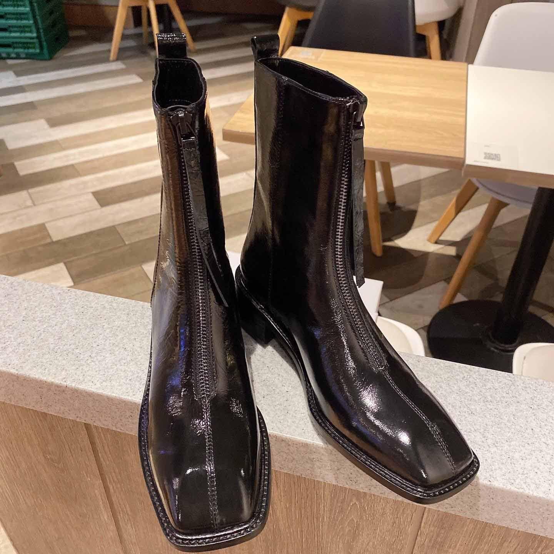 Hochwertige Damenmode Stiefel Glänzendes Leder und Front-Reißverschluss Dekoration botas de mujer de diseño de lujo Lederkampfstiefel # 1F