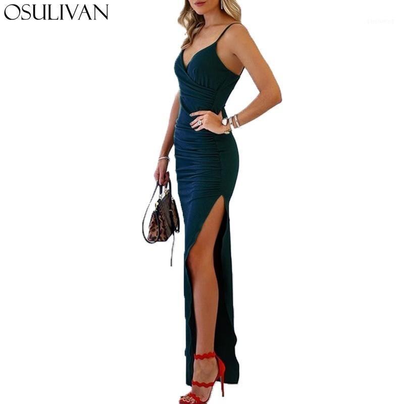 Osulivan Yaz Elbise Kadınlar Jurkjes Robe Femme Uzun Elbiseler Vestidos Seksi Elbise Bodycon Yüksek Sokak Parti Vintage V Boyun1