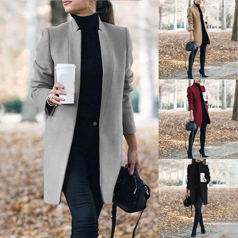 Elegante Stehkragen Damen-Cardigan-Jacke für Büro Herbst und Winter Solid Color Mode schlanken 2020 neue Dame-JacketX1020