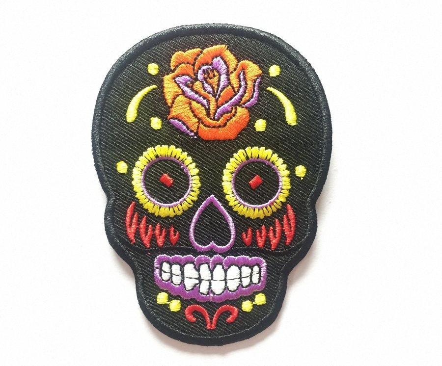 Личность Племенной татуировки сахара День Мертвых Skull вышивка утюг на пришить патч Rockabilly Байкер Patch DIY аппликация Вышитые ЕЛМБ w9Vg #