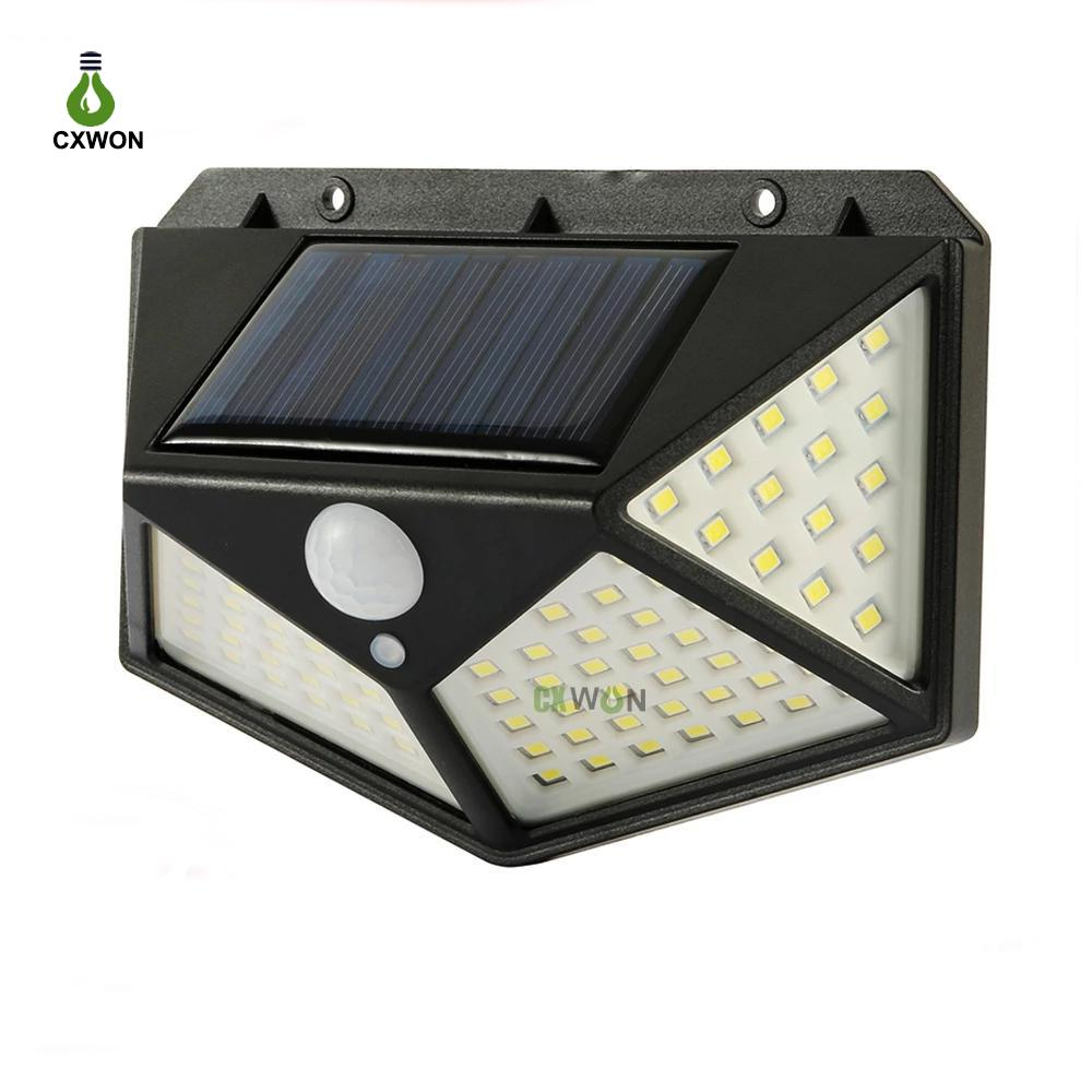 와이드 앵글 태양 램프 100LEDS 태양 LED 정원 조명 PIR 모션 센서 태양 벽 장착 조명 램프