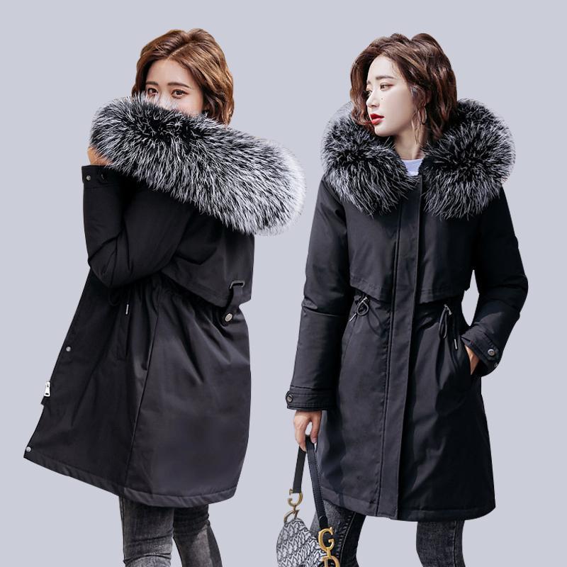 Зима Женщины Parkas нового -30 градусы Толстых зима ветровка куртка женщин мода меховой воротник с капюшоном толстыми теплым длинного жакета ветровки 201015