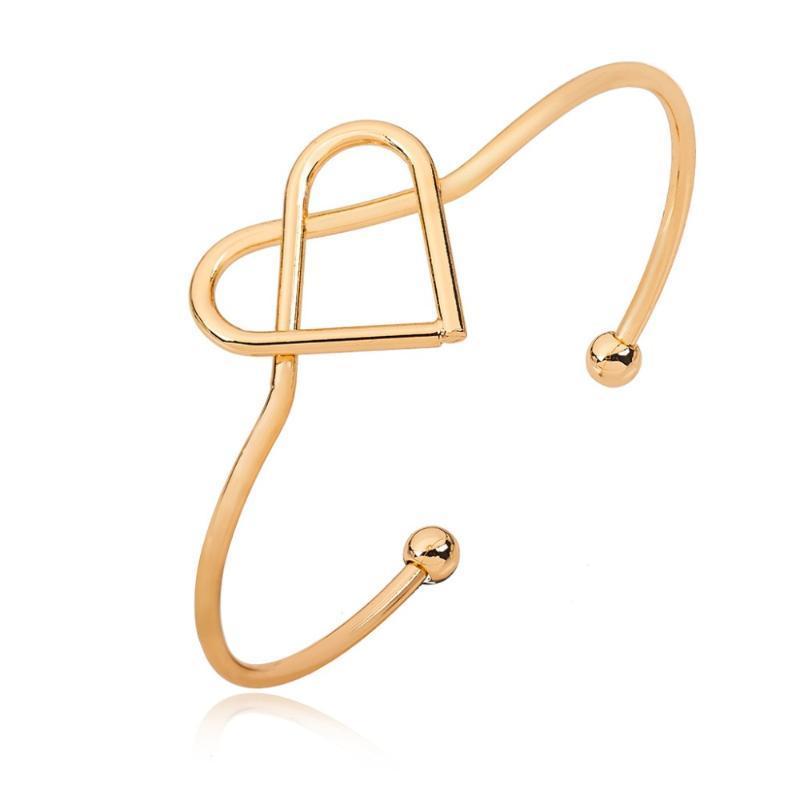 Браслет завязанные пустые сердечные отверстия с регулируемыми металлическими золотистыми серебряными браслетами для женщин