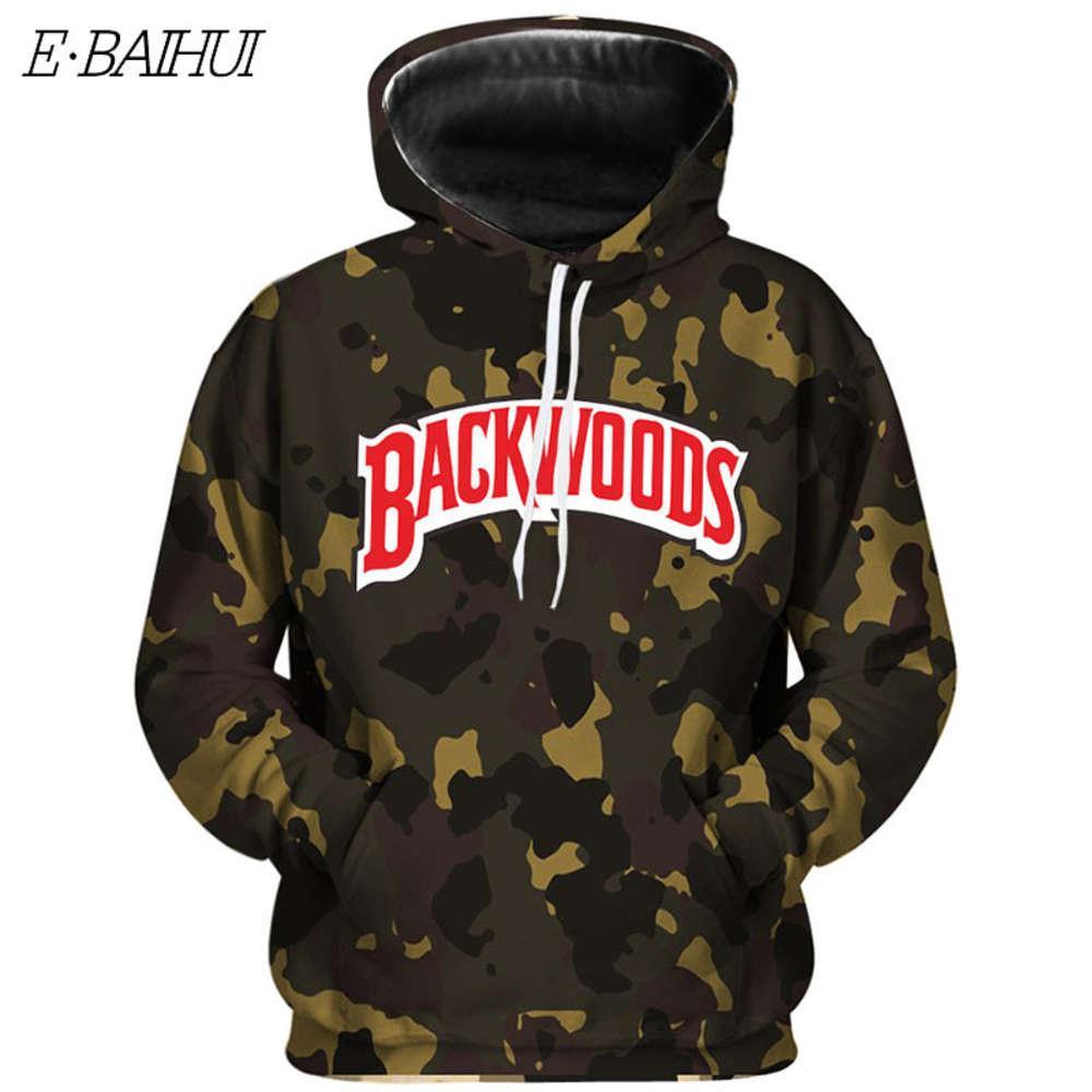 E-Baihui Backwoods Kamuflaj Hoodie Streetwear Erkekler ve Kadın Tişörtü Moda Harfleri Harajuku Kişilik Kazaklar