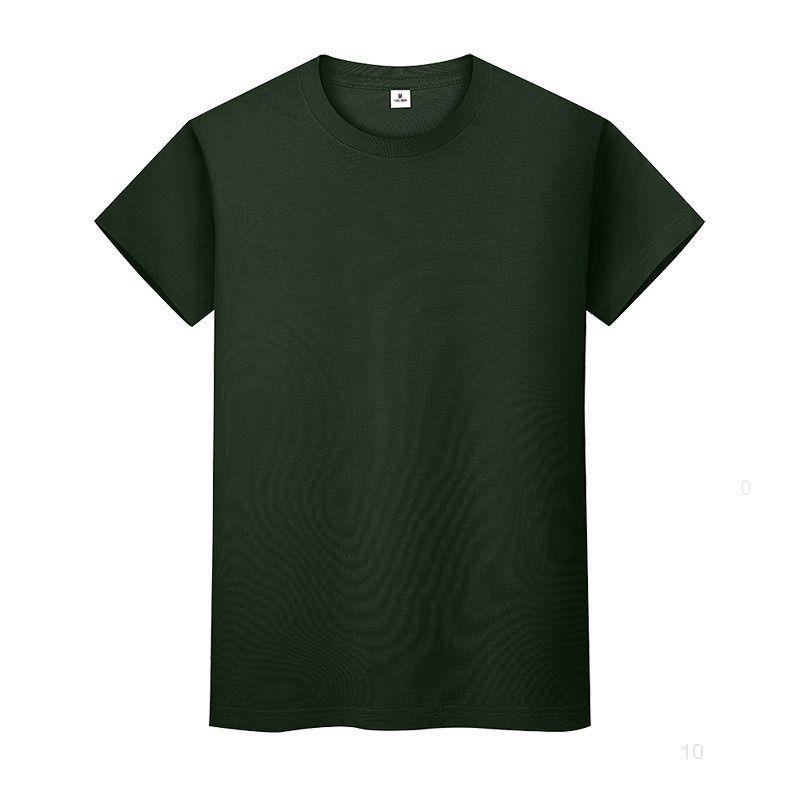 Новая круглая шея сплошная цветная футболка летняя рубашка хлопчатобумажной дна с короткими рукавами мужские и женские половины рукава TMTQII