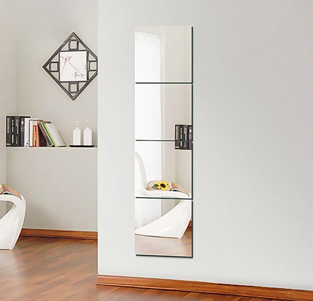 4 pcs decorativo auto adesivo 3d telha parede espelho espelho sala de espelho quadrado diy casa decoração adesivo jlleua yeah2010