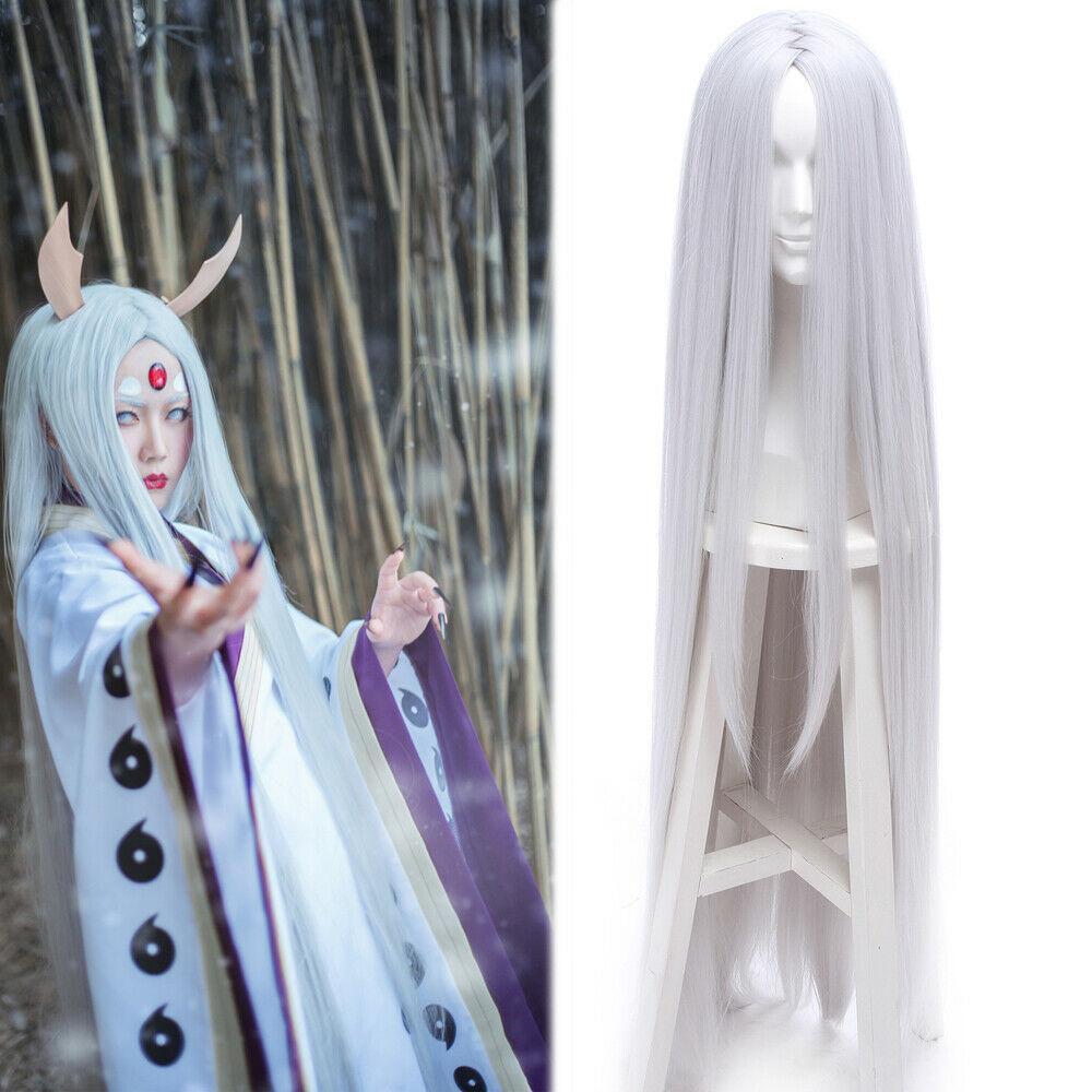 120cm ootutuki Himeji wig long straight silver white hair Halloween Cosplay